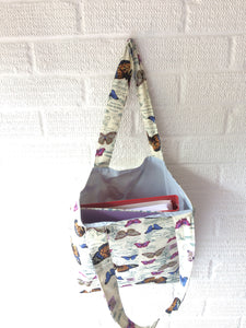 Butterfly themed lined tote bag