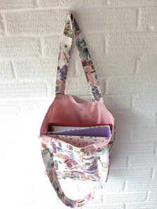 Canvas Lined Tote Bag | Pink Gardening Theme