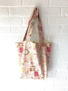 Pink Paris Theme Canvas Tote Bag