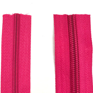Cerise Pink Continuous Zipper Roll, Standard Style, Size 3 and 5