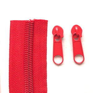 Red Continuous Zipper Roll, Standard Style, Size 3 and 5