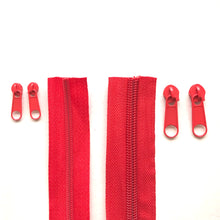 Load image into Gallery viewer, Red Continuous Zipper Roll, Standard Style, Size 3 and 5