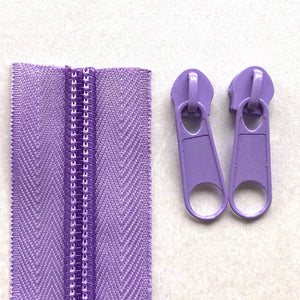 Lilac Purple Continuous Zipper Roll, Standard Style, Size 3 and 5