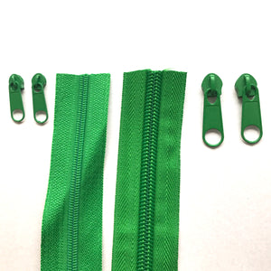 Emerald Green Continuous Zipper Roll, Standard Style, Size 3 and 5