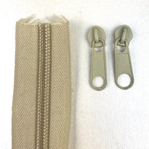 Beige Continuous Zipper Roll, Standard Style, Size 3 and 5