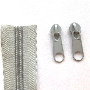 Light Grey Continuous Zipper Roll, Standard Style, Size 3 and 5