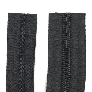 Black Continuous Zipper Roll, Standard Style, Size 3 and 5