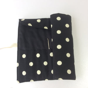 Knitting Needle | Crochet Hook Rolls in Black with Spots
