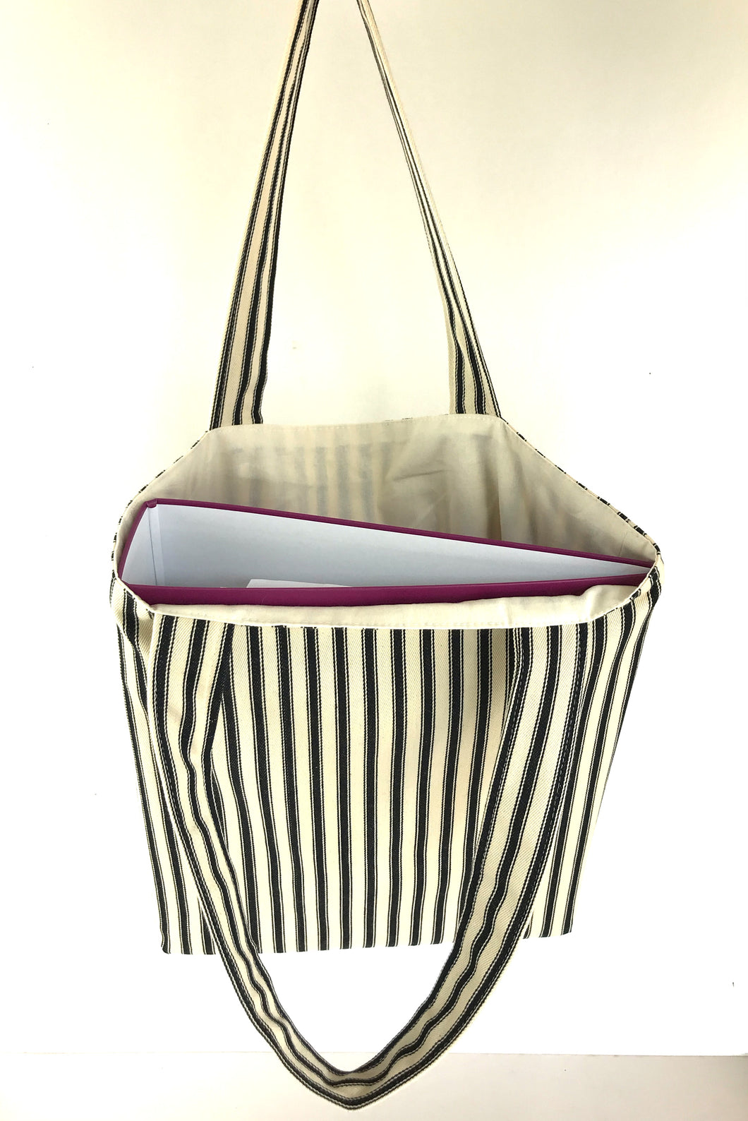 Ticking Canvas tote Bag, Black Stripe Lined with plain cotton