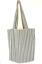 Load image into Gallery viewer, Ticking Canvas tote Bag, Black Stripe Lined with plain cotton