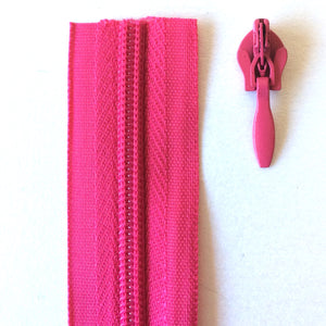 Cerise Pink Continuous Zipper Roll, Invisible / concealed, Size 3