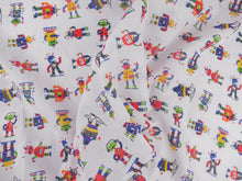 Load image into Gallery viewer, Robots on white polycotton fabric