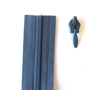 Dark Grey Continuous Zipper Roll, Invisible / concealed, Size 3