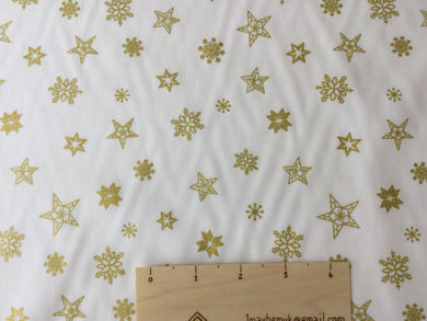 Gold Stars on a Cream cotton Background Cotton Fabric