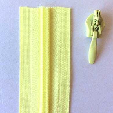 Light Yellow Continuous Zipper Roll, Invisible / concealed, Size 3