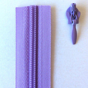 Lilac Purple Continuous Zipper Roll, Invisible / concealed, Size 3