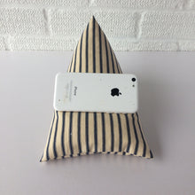 Load image into Gallery viewer, Navy Blue Striped Phone Holder Bean Bag Cushion