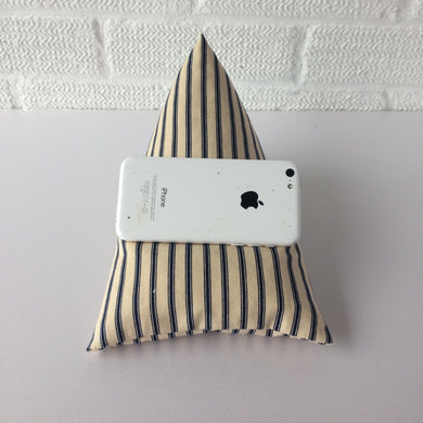 Navy Blue Striped Phone Holder Bean Bag Cushion