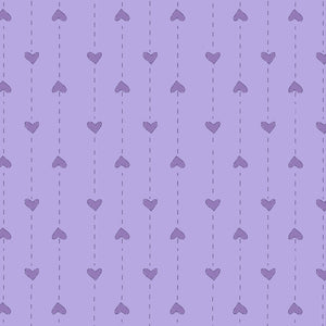 Red Rooster  Basically Hugs Fabric Collection | Purple Small hearts Stripe 25044