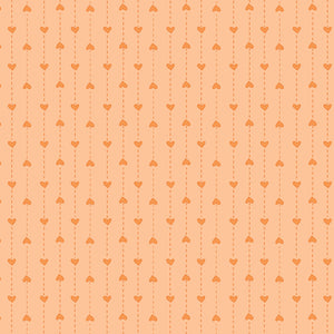 P & B Basically Hugs Fabric Collection | Orange Small hearts Stripe 25044