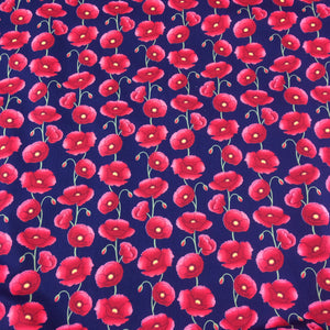 Poppy Fabric on Navy Background