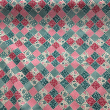 Load image into Gallery viewer, Patchwork in pinks and blues  Polycotton fabric