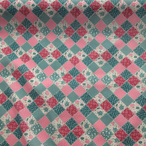 Patchwork in pinks and blues  Polycotton fabric