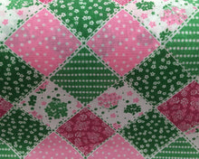 Load image into Gallery viewer, Patchwork in pinks and greens  Polycotton fabric
