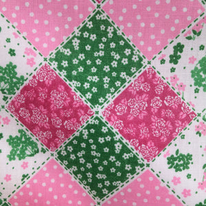 Patchwork in pinks and greens  Polycotton fabric
