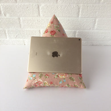 Floral Pink Tablet or iPad Holder,  Bean Bag Cushion