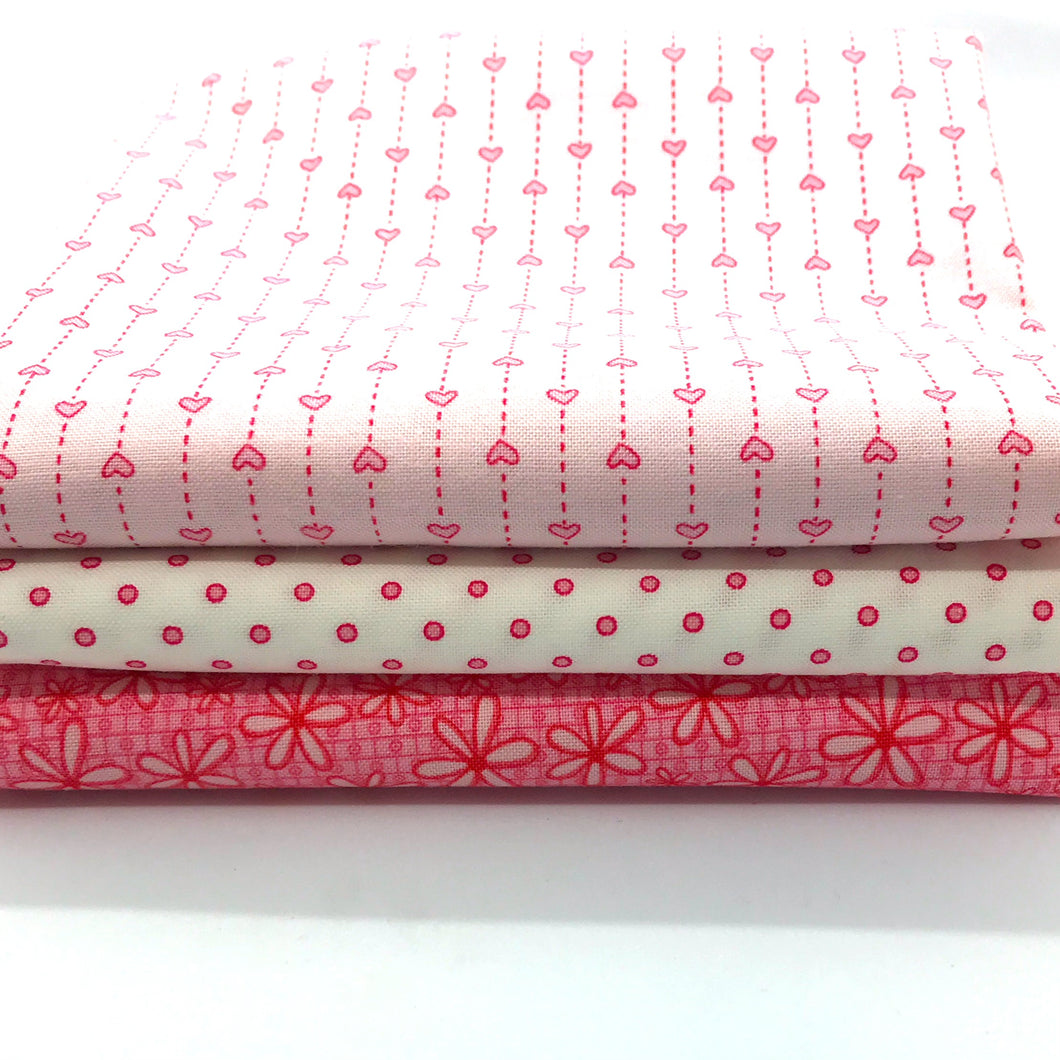 Red Rooster Basically Hugs Pink Collection Fat Quarter Bundle