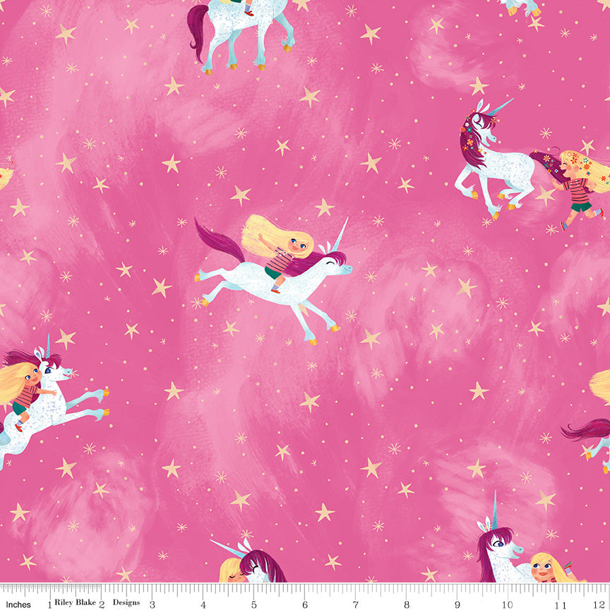 Riley Blake Uni the Unicorn Pink cotton fabric