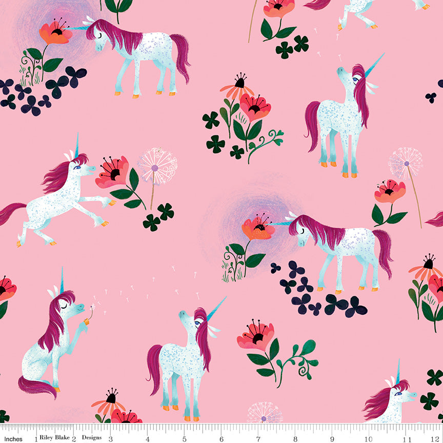 Riley Blake Uni the Unicorn Light Pink cotton fabric
