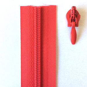 Red Continuous Zipper Roll, Invisible / concealed, Size 3