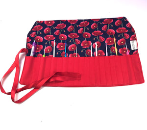 crochet hook rolls in red poppy