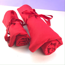 Load image into Gallery viewer, Knitting needles or crochet hook rolls in red poppy