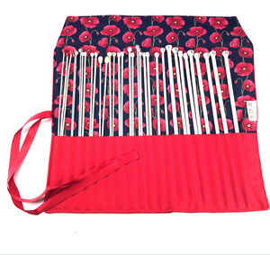 Knitting needles or crochet hook rolls in red poppy