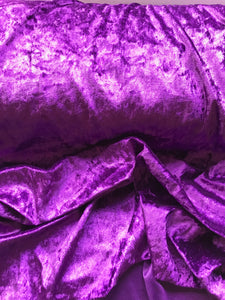 Purple Velour, Crushed Velvet Velour - Stretchy