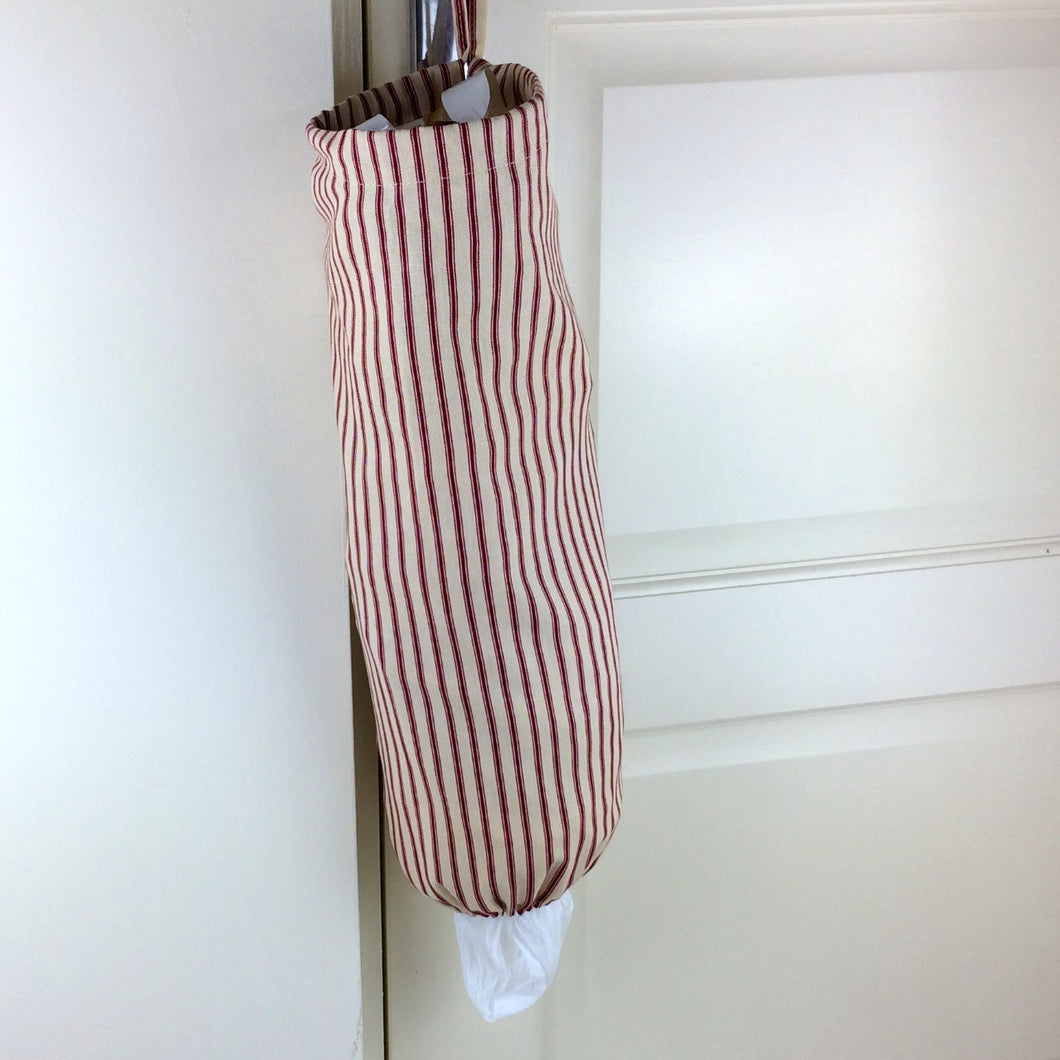 Fabric bag Dispenser, Plastic Bag Storage Navy or Red Ticking