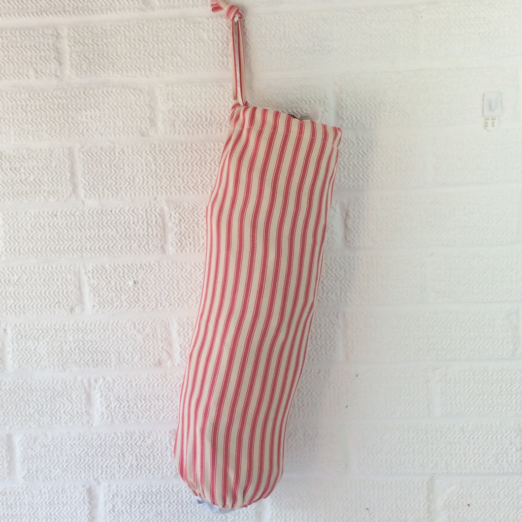 Fabric bag Dispenser, Pink Ticking Stripe