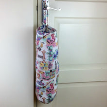 Load image into Gallery viewer, Fabric Bag Dispenser | Plastic Bag Storage | Pink Gardening Theme