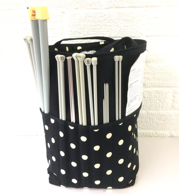 Knitting Bags | Crocheting Totes Black Drill and Spots