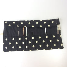 Load image into Gallery viewer, Knitting Needle | Crochet Hook Rolls in Black with Spots