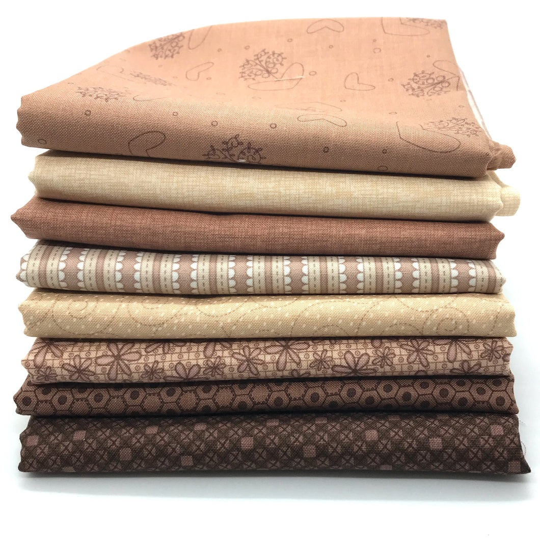 Red Rooster  Basically Hugs Brown / Beige Collection Fat Quarter Bundle