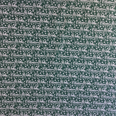 Green Merry Christmas Polycotton fabric