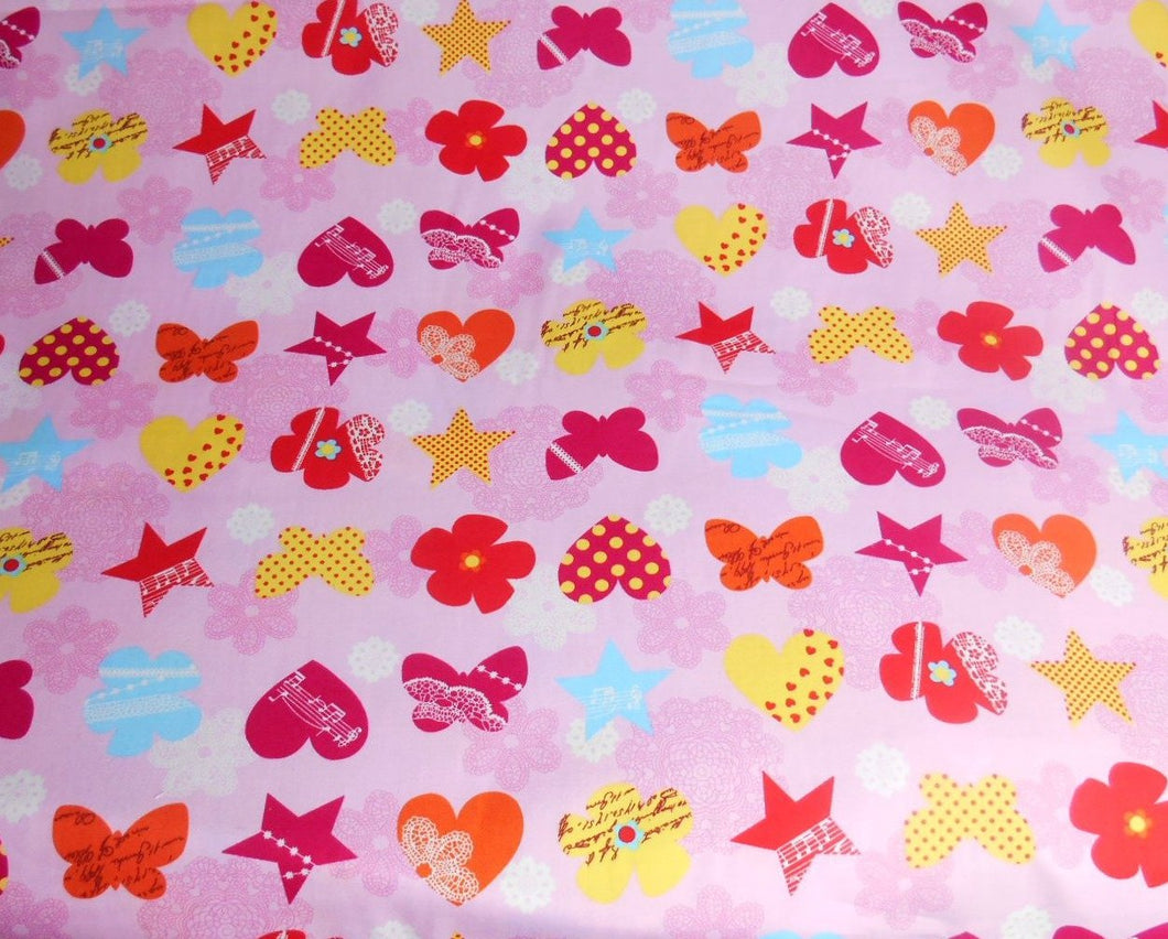 Summer dress Material, Stars, flowers and butterflies