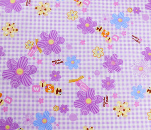 Lilac flowers and check patterned cotton fabric