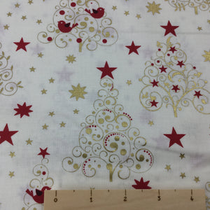 Red Stars and Gold Trees  on a Cream cotton Background Cotton Fabric