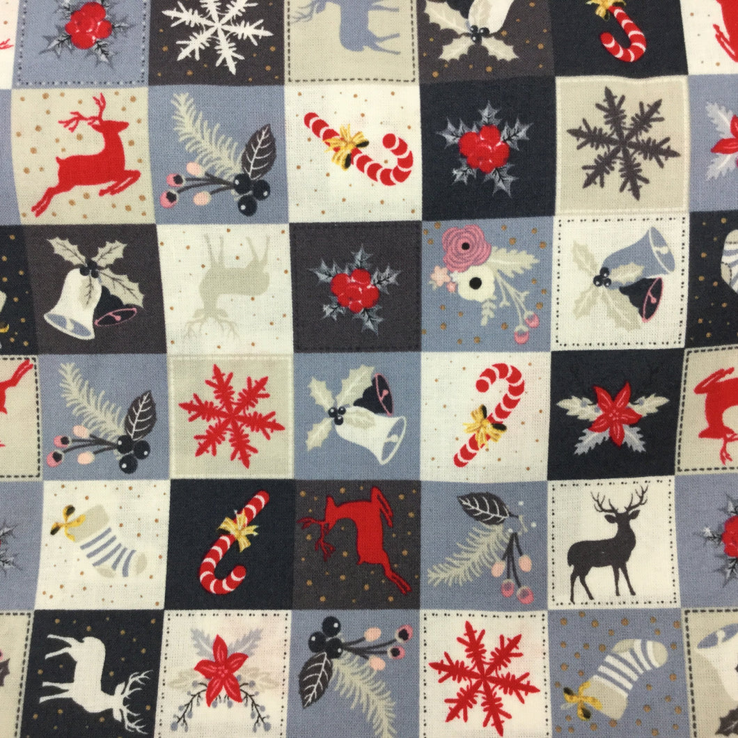 Rose Hubble , Silver and Blue Squares  Christmas pattern Cotton Fabric,