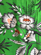 Load image into Gallery viewer, Green Floral viscose Fabric with matching plain green viscose